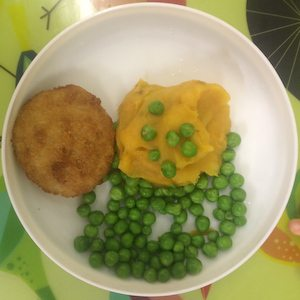 Fish fritters, sweet potato mash and Peas